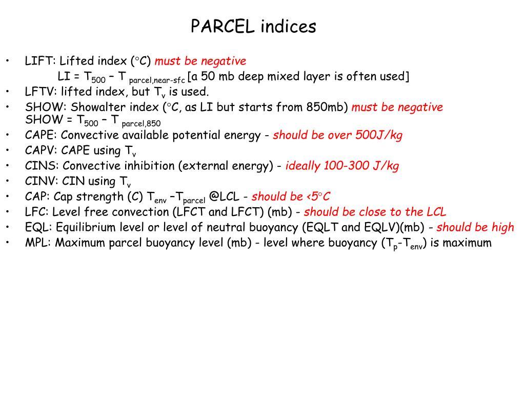 PARCEL indices