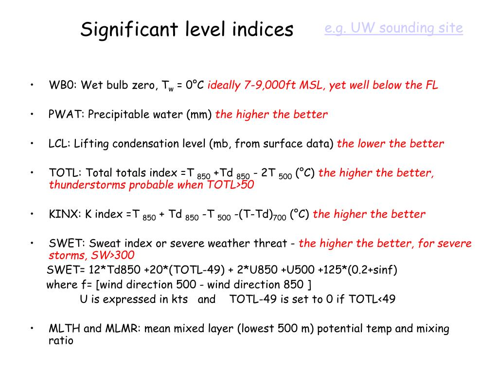 Significant level indices