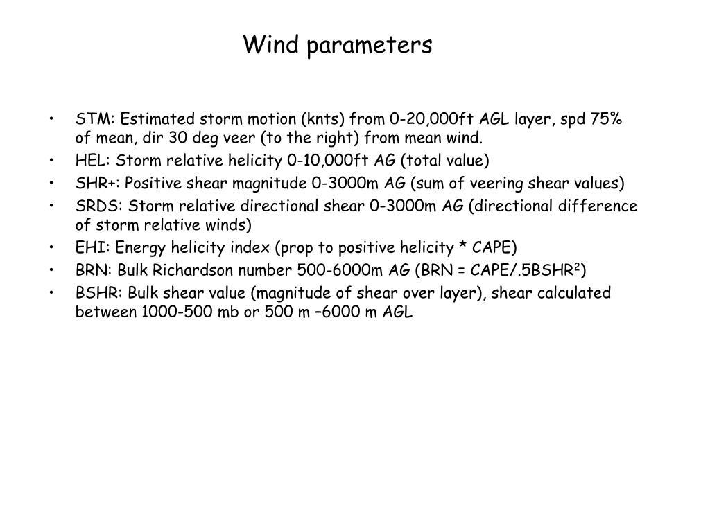 Wind parameters