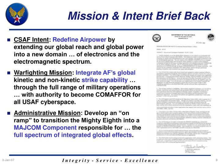 Mission intent brief back