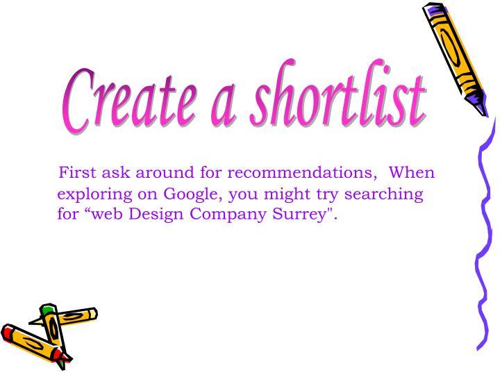 Create a shortlist