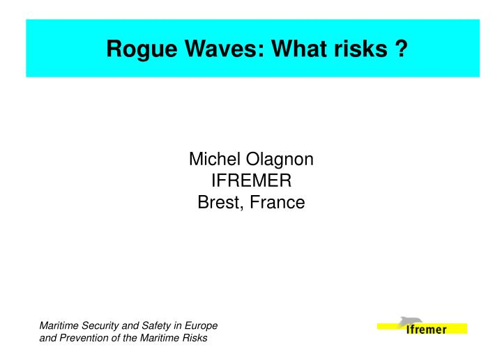Rogue Waves: What risks ?