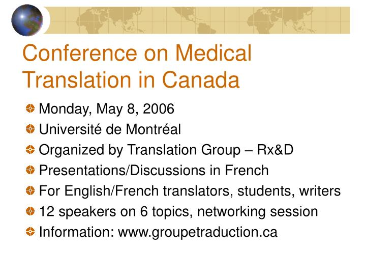 Conference on Medical Translation in Canada