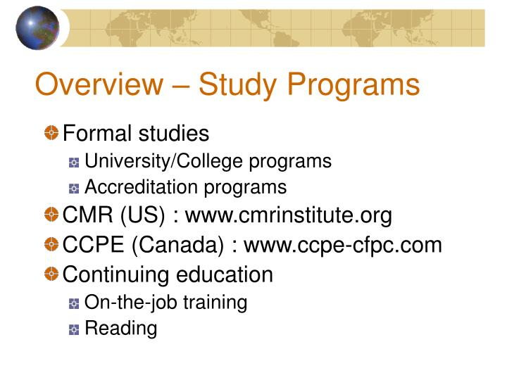 Overview – Study Programs