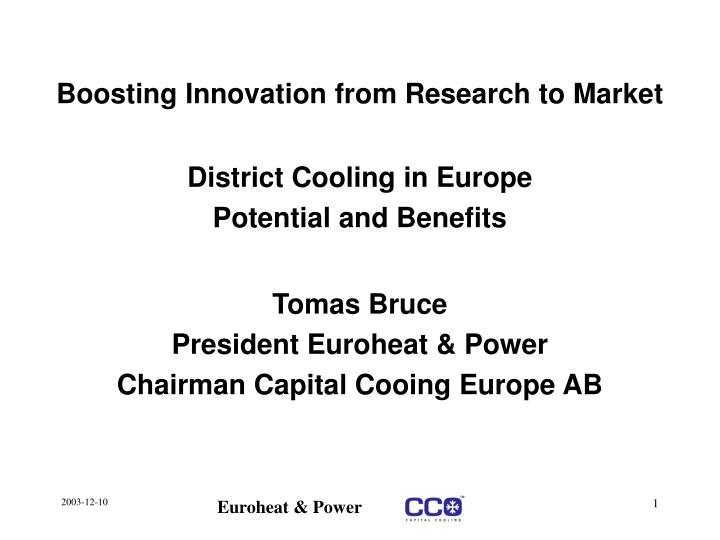 boosting innovation from research to market n.