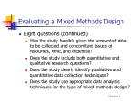 evaluating a mixed methods design1