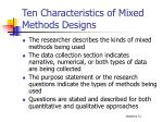 ten characteristics of mixed methods designs1