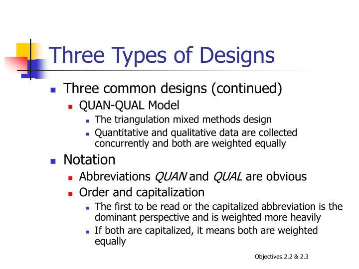 Three Types of Designs