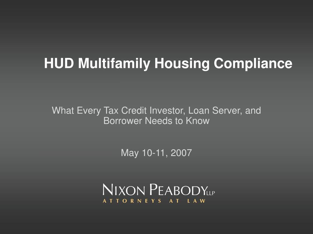 hud multifamily housing compliance l.