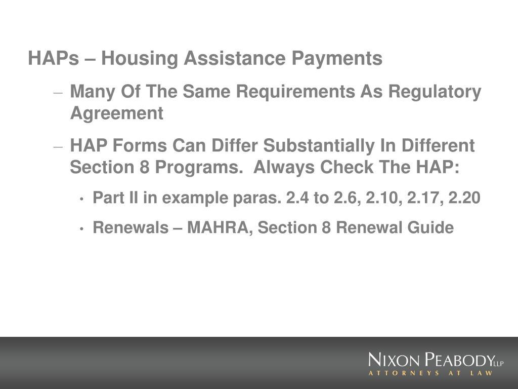 HAPs – Housing Assistance Payments