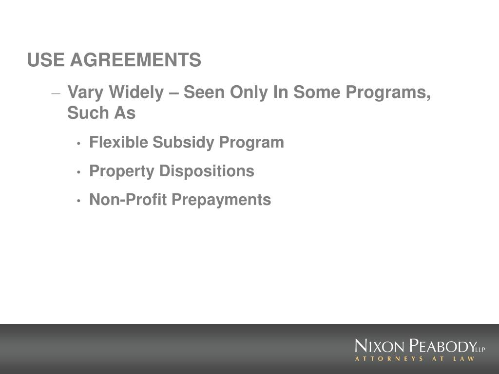 USE AGREEMENTS