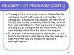redemption program cont d21