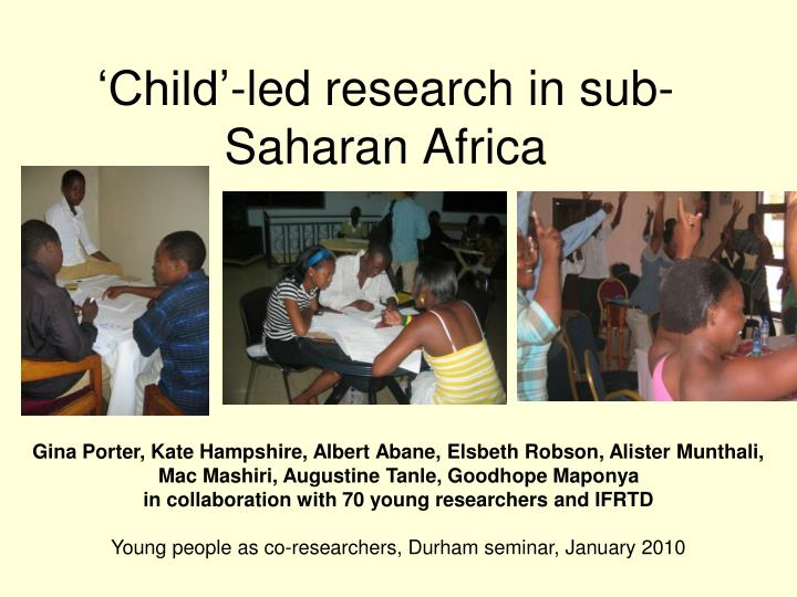 child led research in sub saharan africa n.