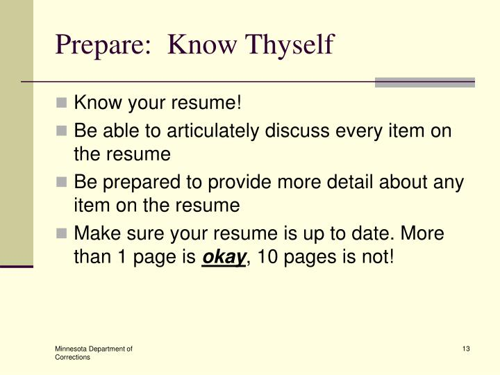 Prepare:  Know Thyself