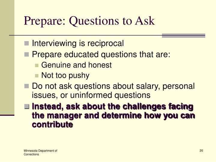 Prepare: Questions to Ask