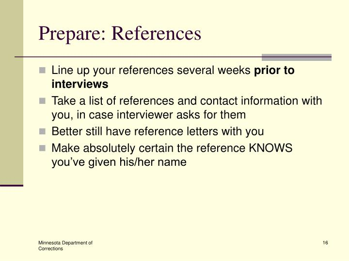 Prepare: References