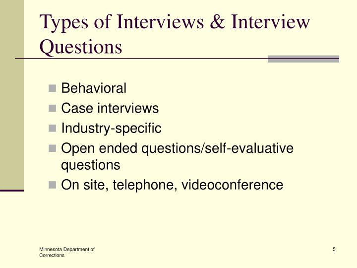 Types of Interviews & Interview Questions