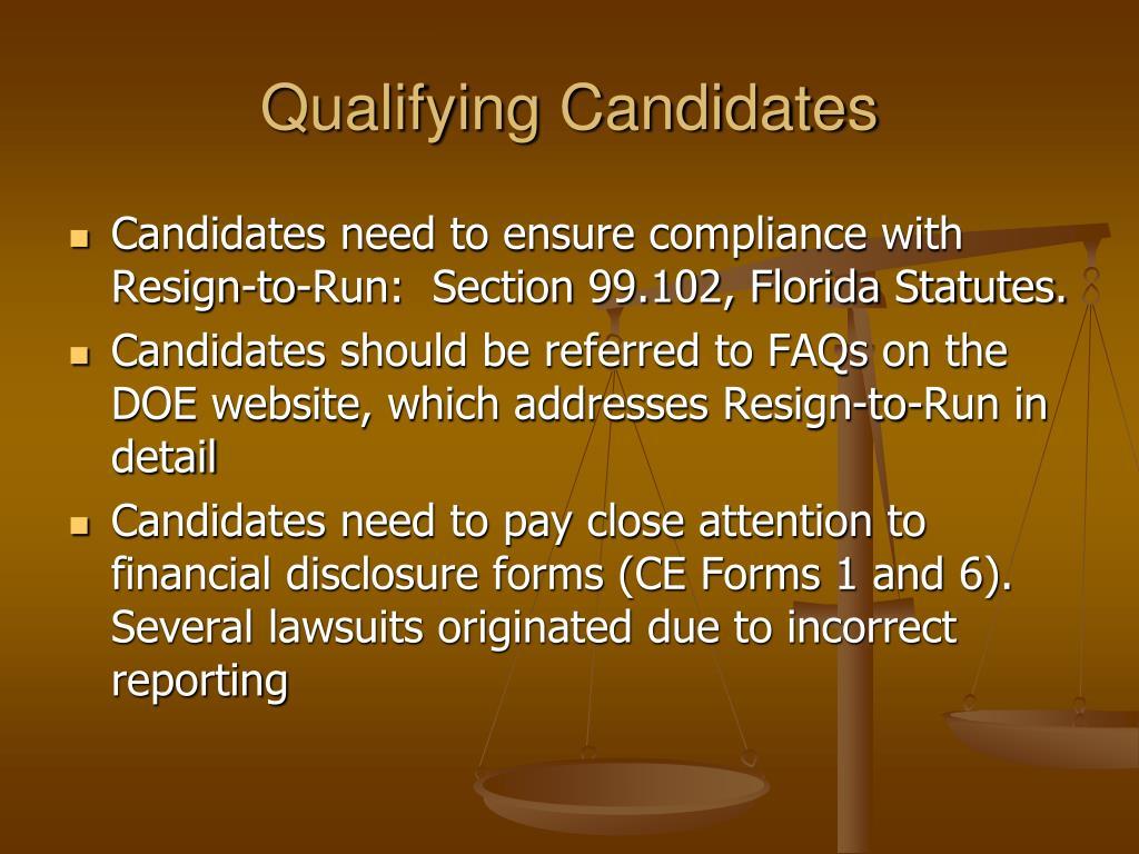 Qualifying Candidates