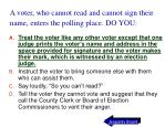 a voter who cannot read and cannot sign their name enters the polling place do you41