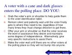 a voter with a cane and dark glasses enters the polling place do you
