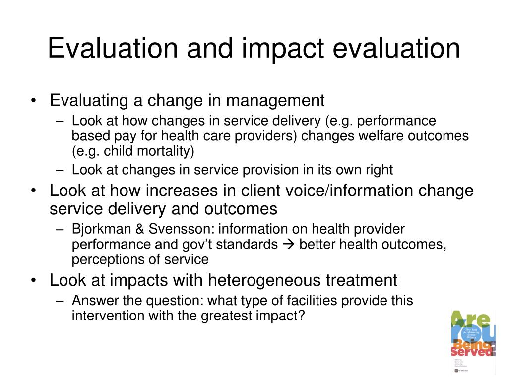 Evaluation and impact evaluation