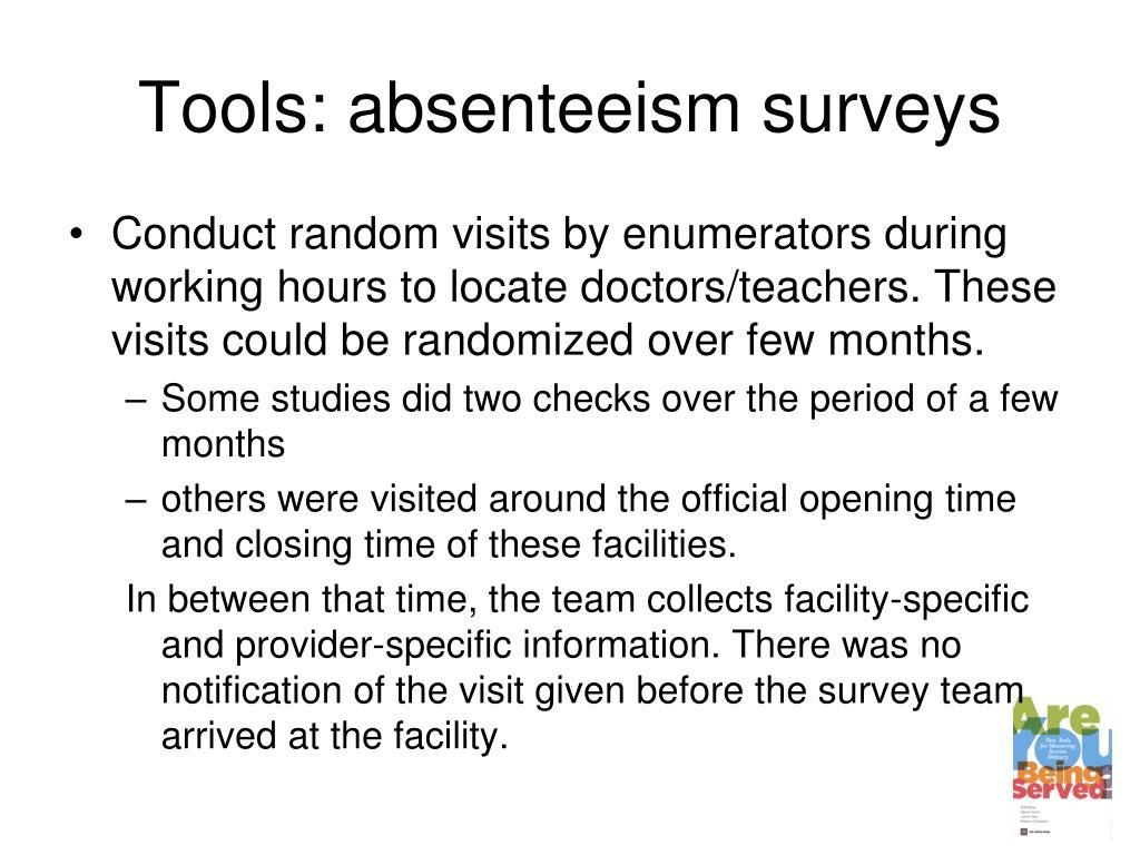 Tools: absenteeism surveys