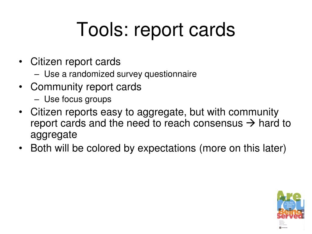 Tools: report cards