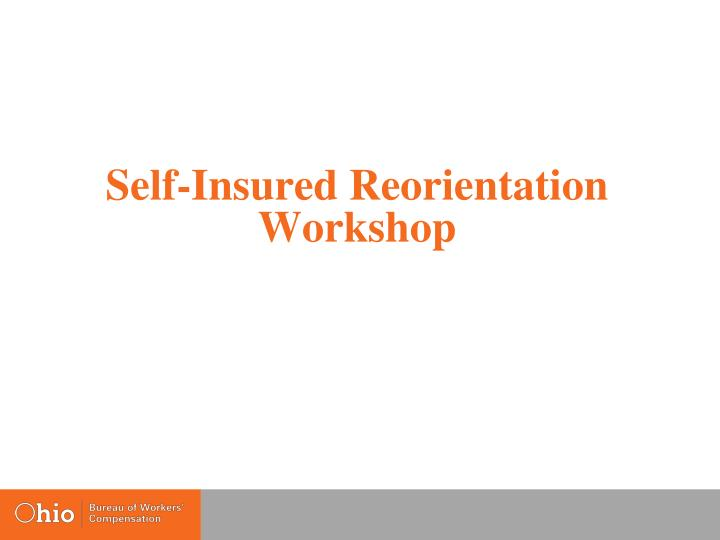 self insured reorientation workshop n.
