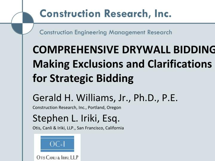 comprehensive drywall bidding making exclusions and clarifications for strategic bidding n.