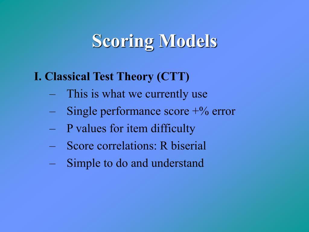 Scoring Models