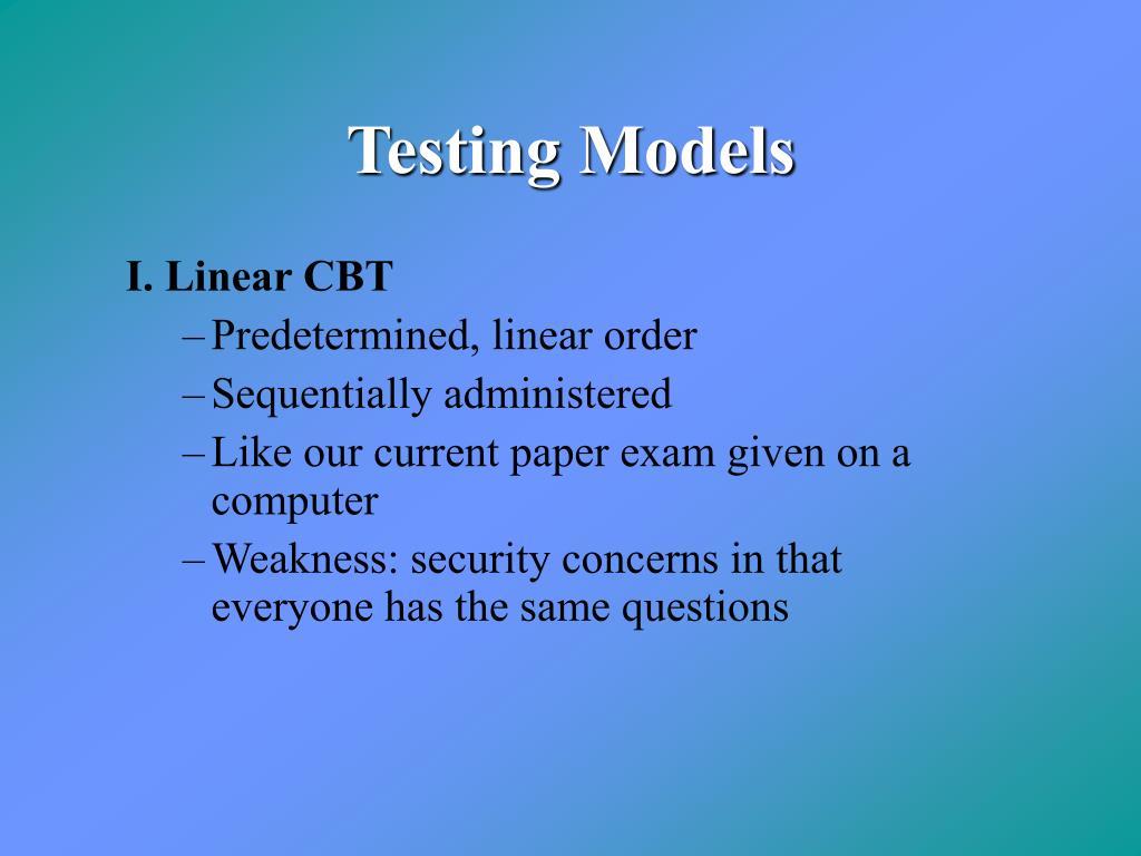 Testing Models
