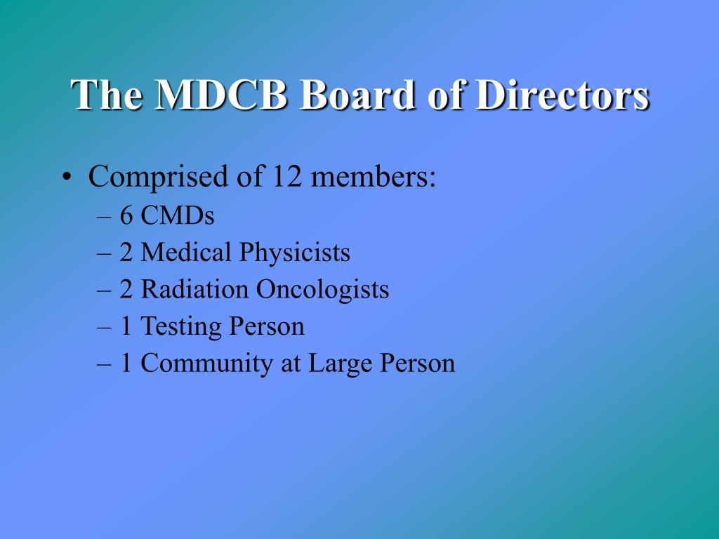 The MDCB Board of Directors