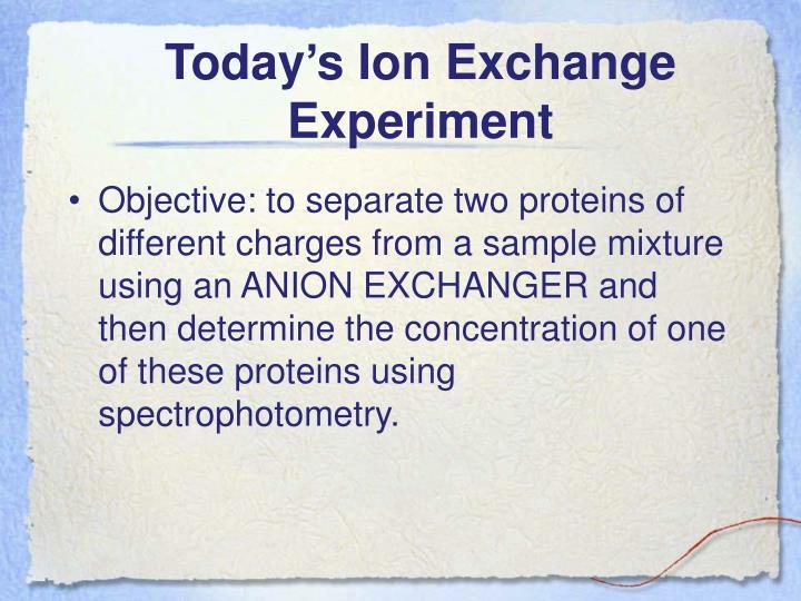 Today's Ion Exchange Experiment