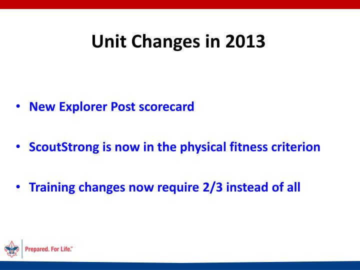 Unit Changes in 2013