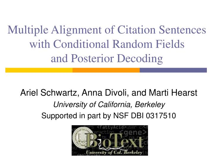 multiple alignment of citation sentences with conditional random fields and posterior decoding n.