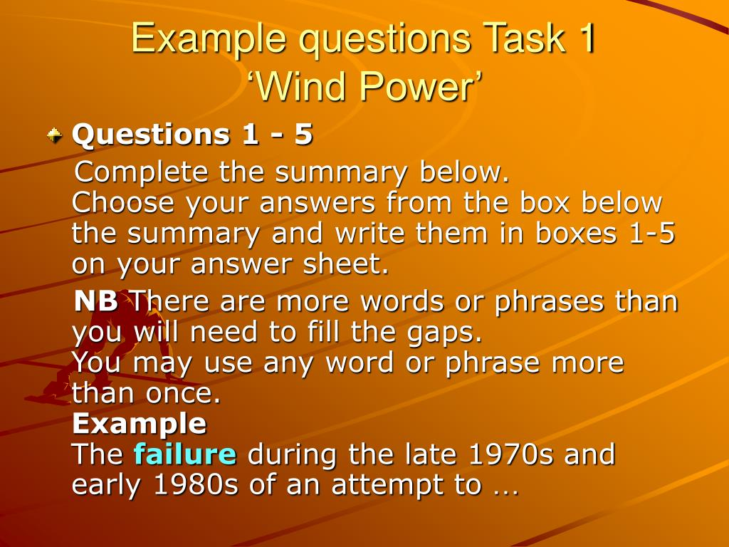 Example questions Task 1