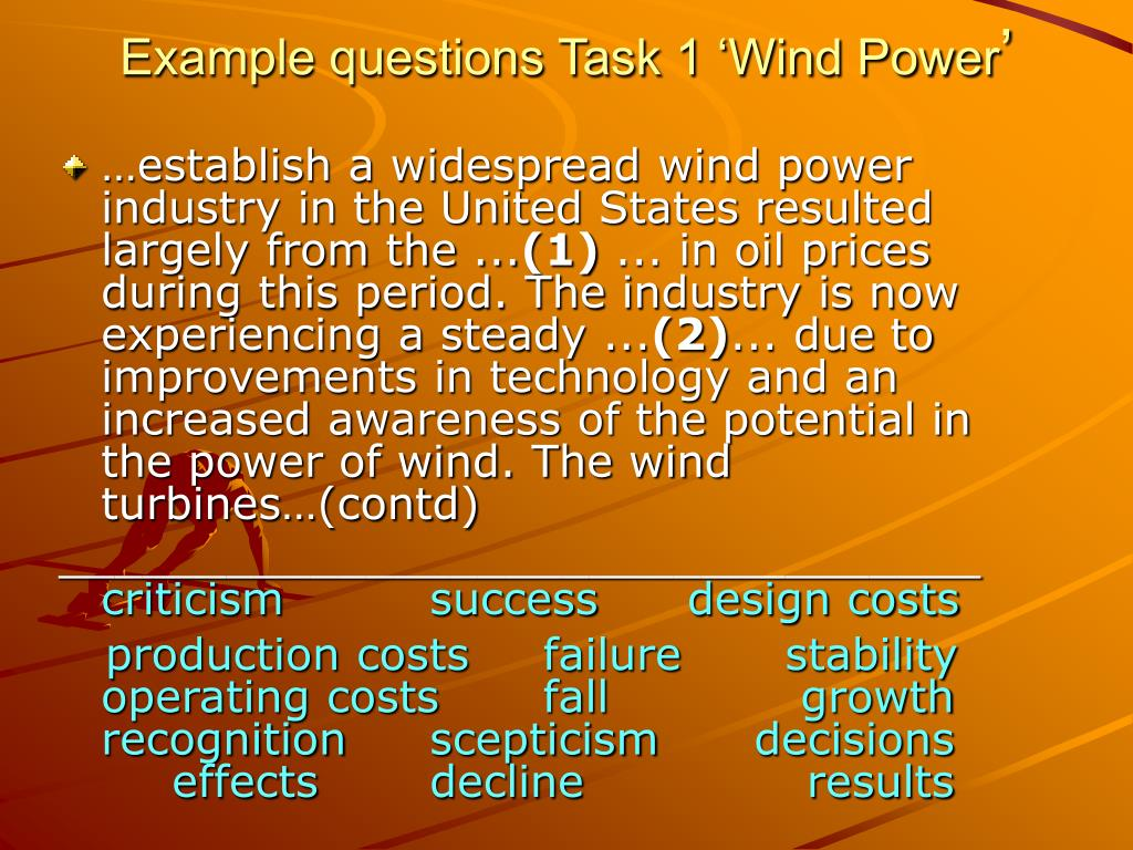 Example questions Task 1 'Wind Power
