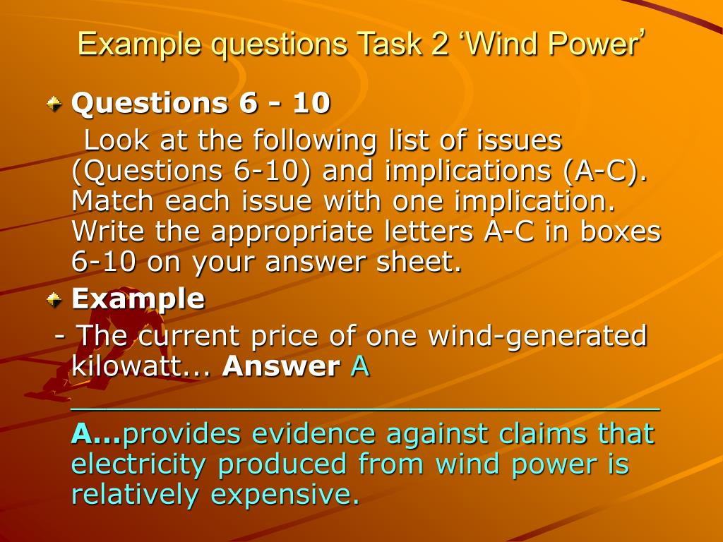 Example questions Task 2 'Wind Power