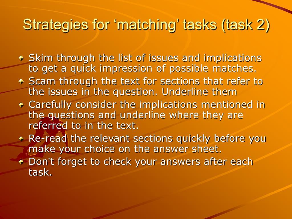 Strategies for 'matching' tasks (task 2)