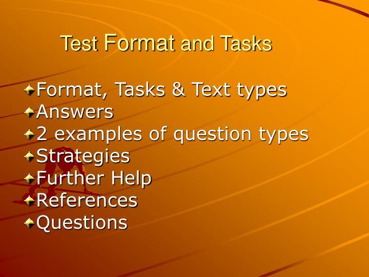 Test format and tasks