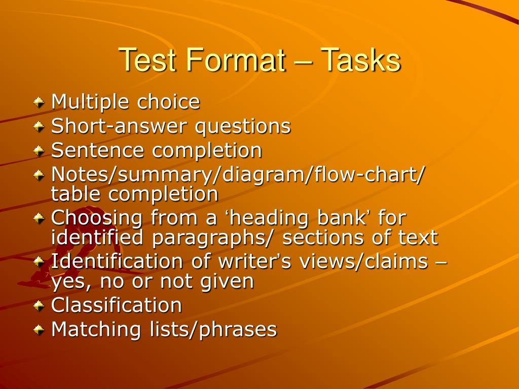 Test Format – Tasks