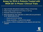 assay for rca in patients treated with ingn 201 in phase i clinical trials