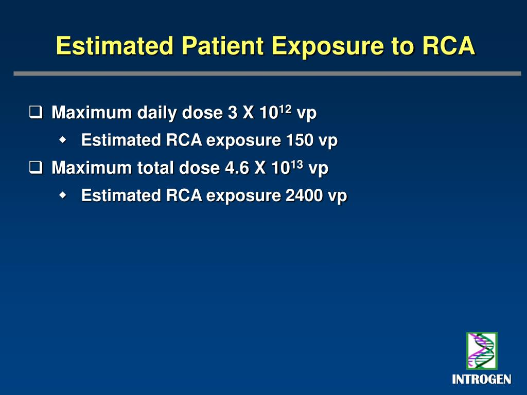 Estimated Patient Exposure to RCA