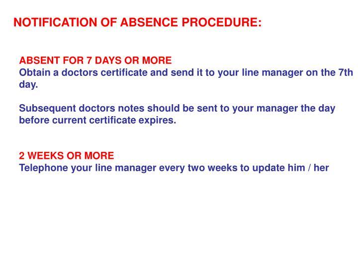 NOTIFICATION OF ABSENCE PROCEDURE: