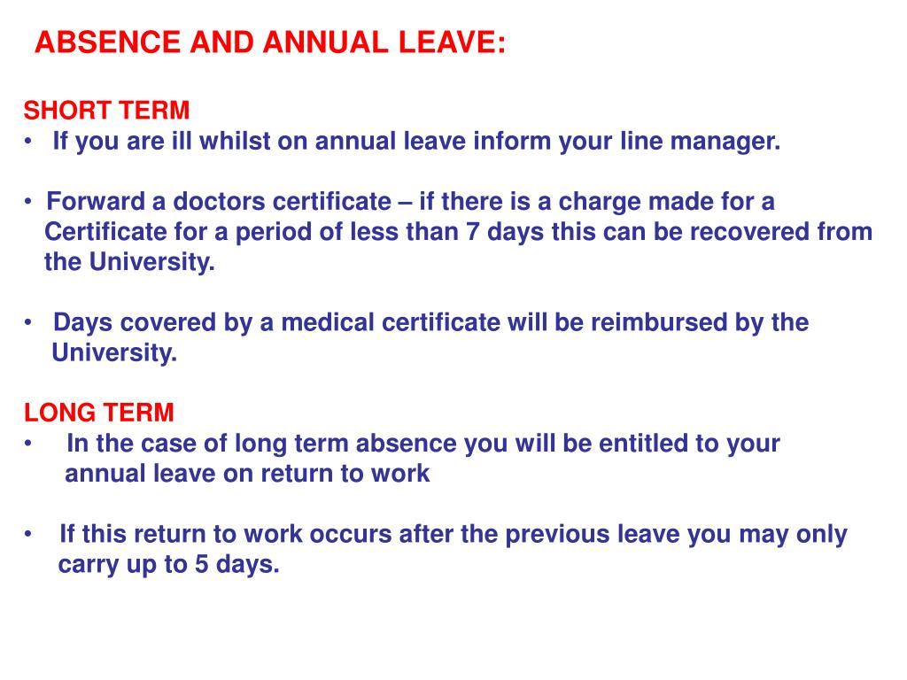 ABSENCE AND ANNUAL LEAVE: