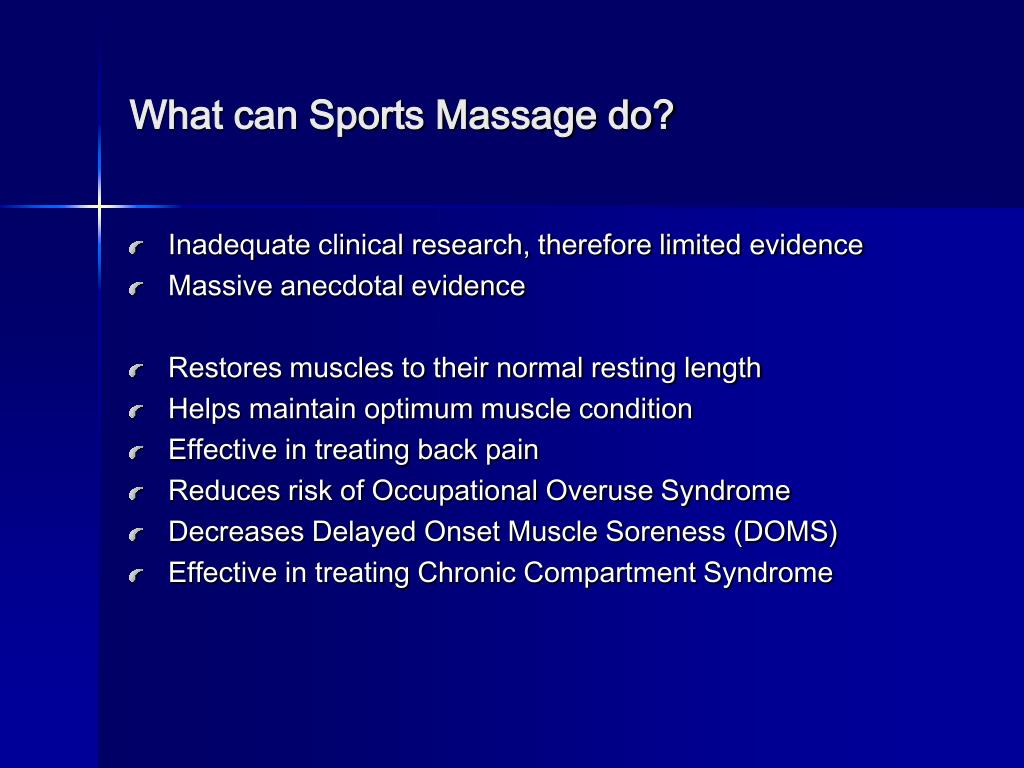 What can Sports Massage do?