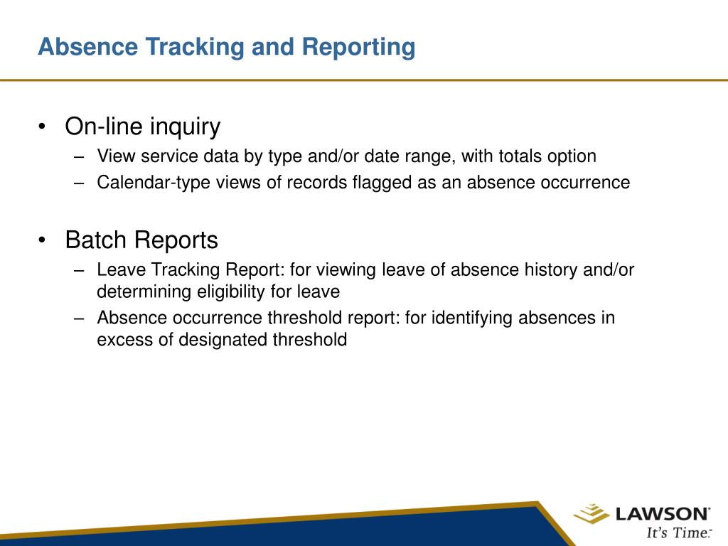 Absence Tracking and Reporting
