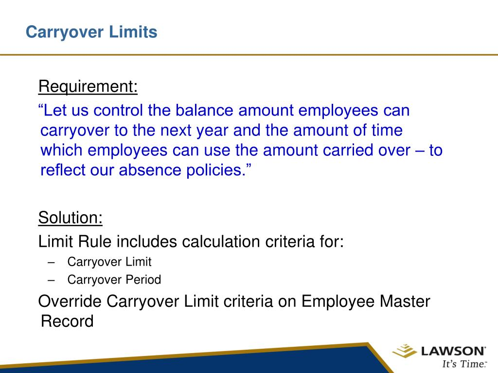 Carryover Limits