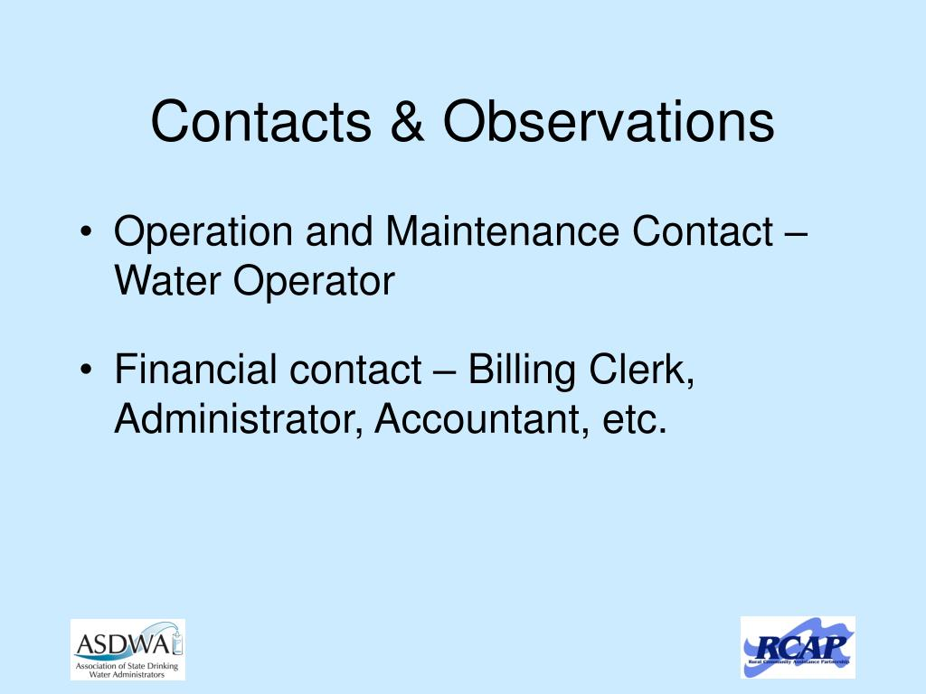 Contacts & Observations