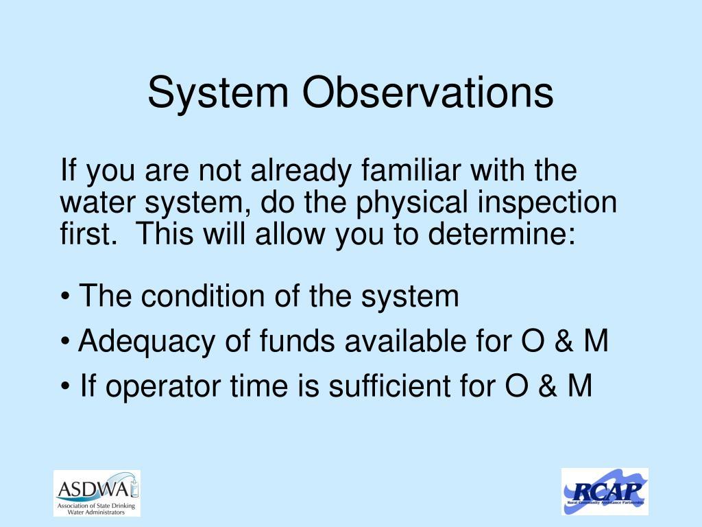 System Observations